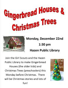 Gingerbread houses and Christmas trees girl scouts 2014