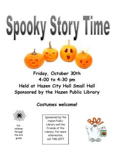 poster for spooky storytime 2015