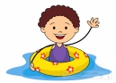 Summer Sports Kid With Airtube In Pool Clipart